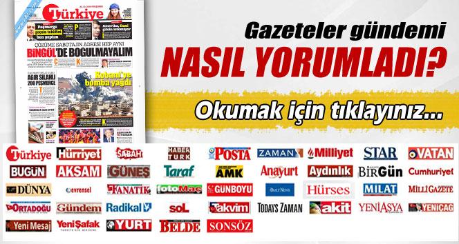 23 Ekim 2014 Perşembe gazete manşetleri