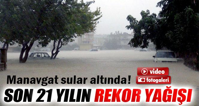 Manavgat'a rekor yağış düştü