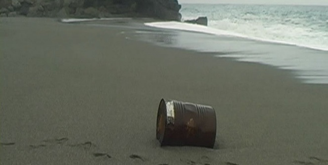 Sahile vuran varil panik yaşattı