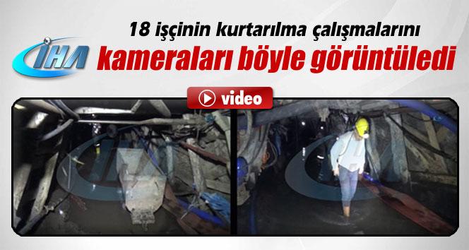 18 işçinin kurtarılma çalışmalarını İHA kameraları görüntüledi