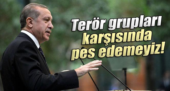 Erdoğan: 'Terör grupları karşısında pes edemeyiz'